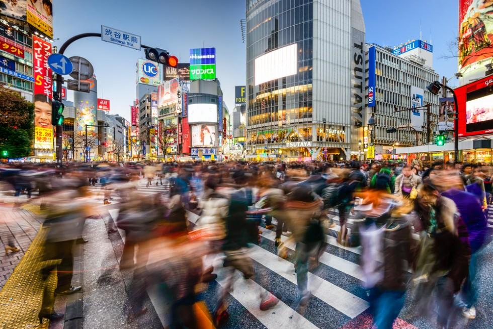 People crossing the street in Tokyo