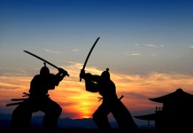 Two Samurai Fighting