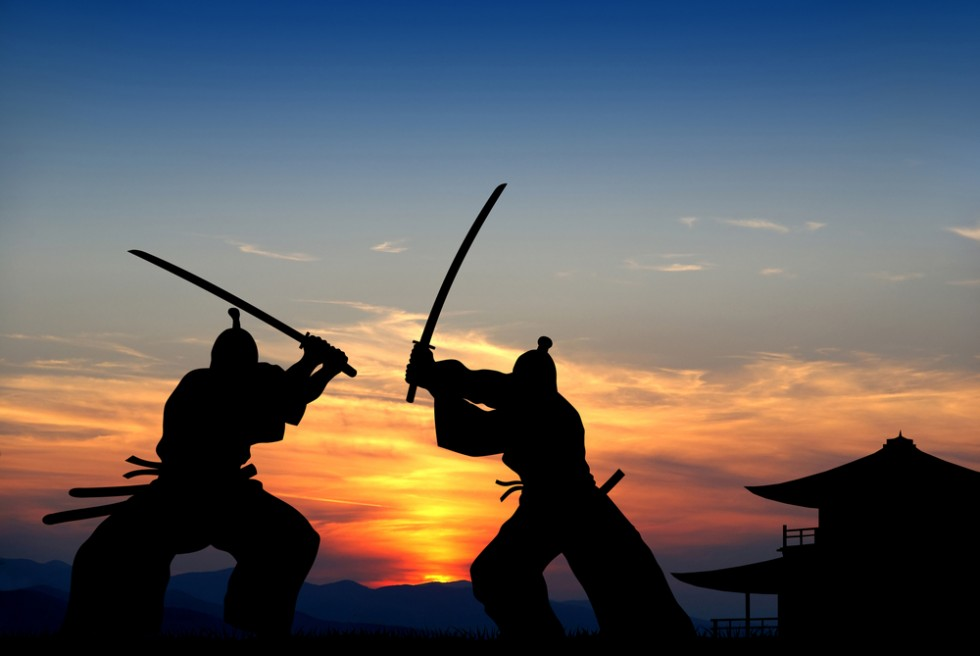 Two Samurai Fighting
