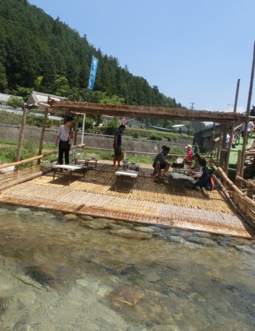 """A bamboo thatched """"yana"""" platform on the river"""
