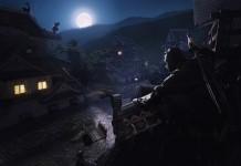 Ninjas hiding on rooftops in a village