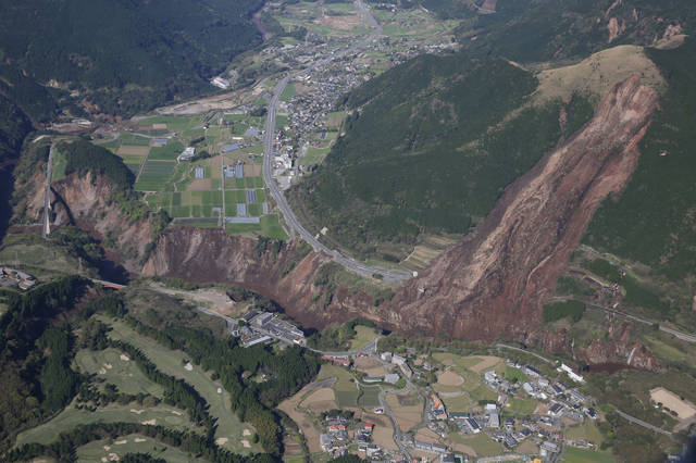 A landslide takes out a street in kumamoto