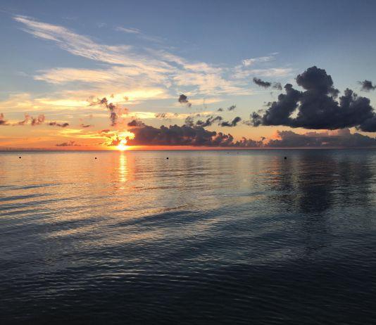 Sunset over the water in Ishigaki Island